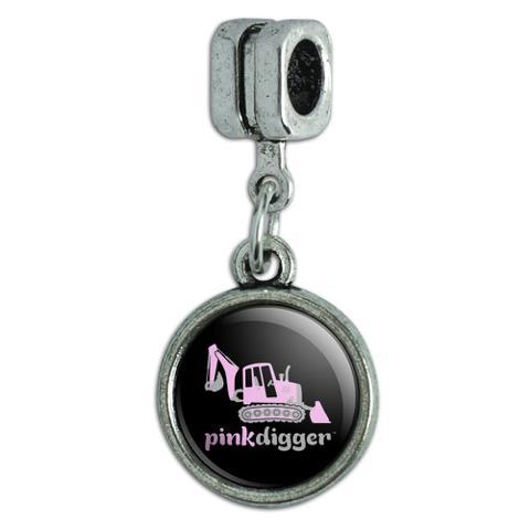 Pink Digger Backhoe Tractor Front End Loader Logo Italian European Style Bracelet Charm Bead