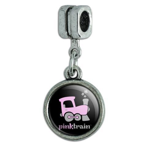 Pink Train Engine Steam Locomotive Logo Italian European Style Bracelet Charm Bead