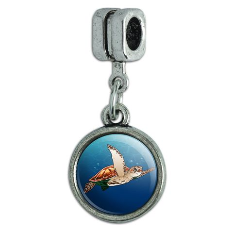 Sea Turtle Swimming in Ocean Italian European Style Bracelet Charm Bead