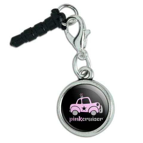 Pink Cruiser Police Car Logo Mobile Cell Phone Headphone Jack Anti-Dust Charm fits iPhone iPod Galaxy