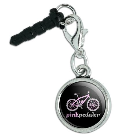 Pink Pedaler Mountain Bike Bicycle Logo Mobile Cell Phone Headphone Jack Anti-Dust Charm fits iPhone iPod Galaxy