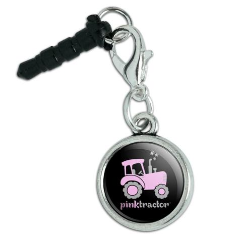Pink Farm Tractor Logo Mobile Cell Phone Headphone Jack Anti-Dust Charm fits iPhone iPod Galaxy
