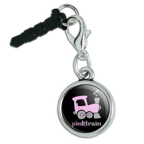 Pink Train Engine Steam Locomotive Logo Mobile Cell Phone Headphone Jack Anti-Dust Charm fits iPhone iPod Galaxy