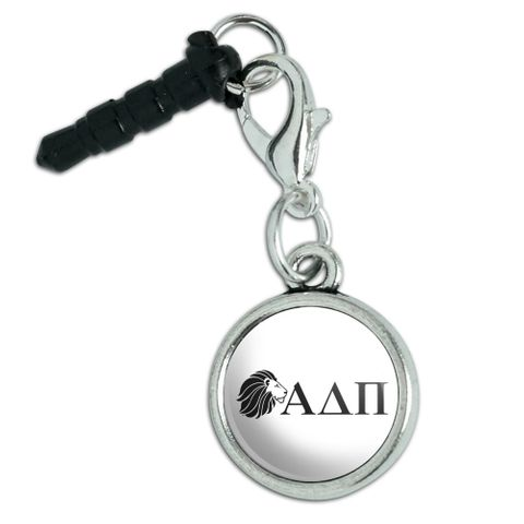 Alpha Delta Pi Sorority Lion Greek Letters Black Officially Licensed Mobile Cell Phone Headphone Jack Anti-Dust Charm fits iPhone iPod Galaxy