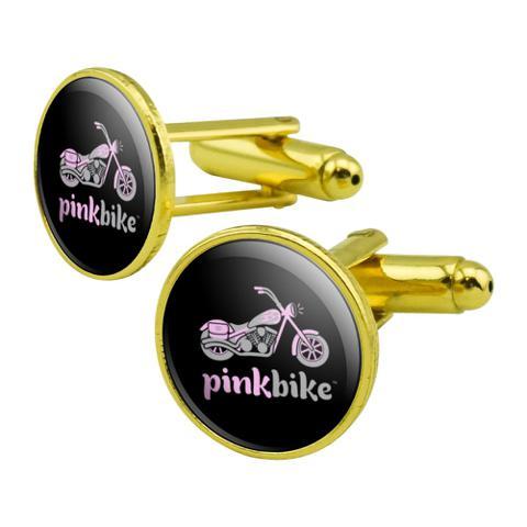 Pink Bike Motorcycle Chopper Logo Round Cufflink Set Gold Color