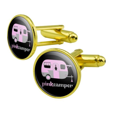 Pink Camper Trailer Camping Logo Round Cufflink Set Gold Color