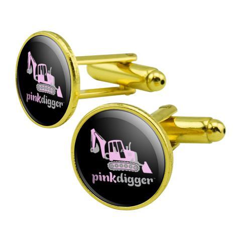 Pink Digger Backhoe Tractor Front End Loader Logo Round Cufflink Set Gold Color