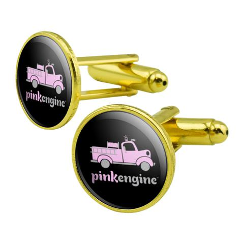 Pink Fire Engine Firefighter Truck Logo Round Cufflink Set Gold Color