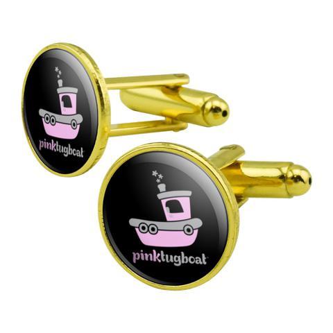 Pink Tugboat Tug Boat Logo Round Cufflink Set Gold Color
