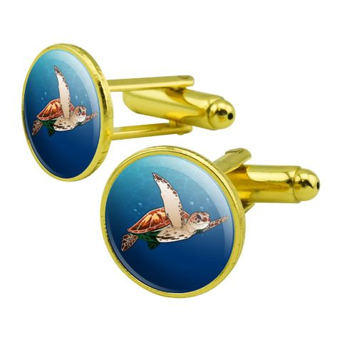 Sea Turtle Swimming in Ocean Round Cufflink Set Gold Color