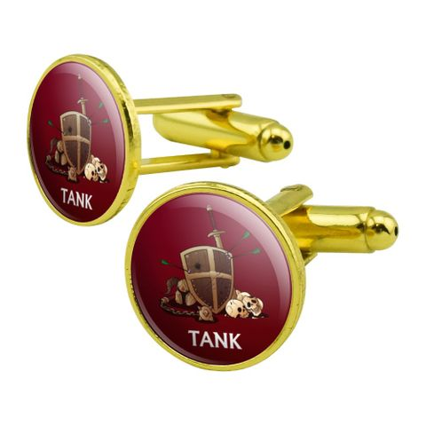 Tank Warrior RPG MMORPG Class Role Playing Game Round Cufflink Set Gold Color
