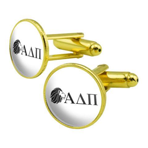 Alpha Delta Pi Sorority Lion Greek Letters Black Officially Licensed Round Cufflink Set Gold Color