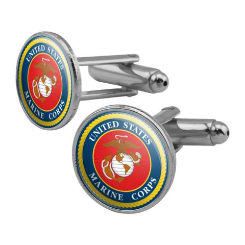 Marines USMC Logo Blue Red Gold Officially Licensed Round Cufflink Set Silver Color