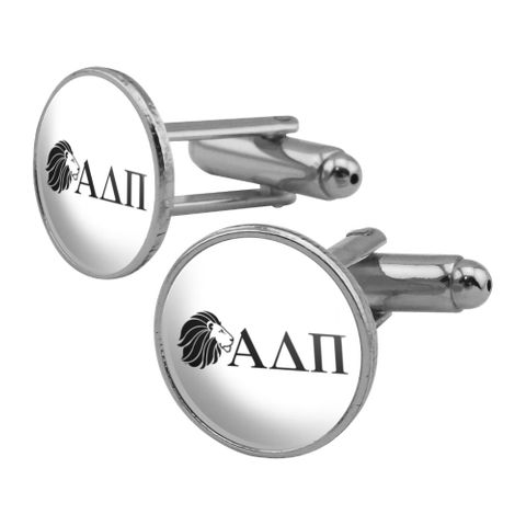 Alpha Delta Pi Sorority Lion Greek Letters Black Officially Licensed Round Cufflink Set Silver Color