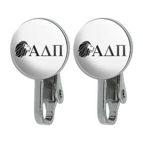 Alpha Delta Pi Sorority Lion Greek Letters Black Officially Licensed Novelty Clip-On Stud Earrings