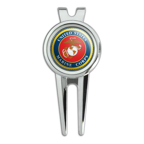 Marines USMC Logo Blue Red Gold Officially Licensed Golf Divot Repair Tool and Ball Marker
