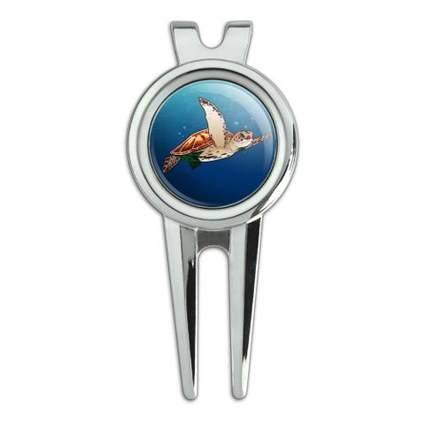 Sea Turtle Swimming in Ocean Golf Divot Repair Tool and Ball Marker