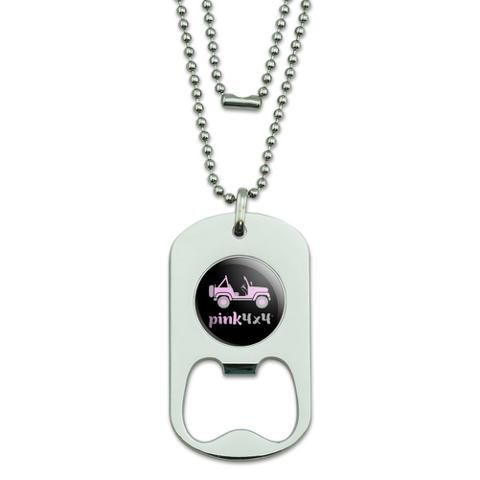 Pink 4x4 Truck Off-Road Logo  Military Dog Tag Bottle Opener Pendant