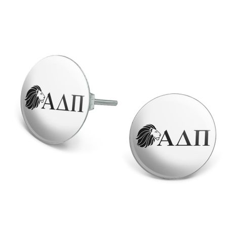 Alpha Delta Pi Sorority Lion Greek Letters Black Officially Licensed Novelty Silver Plated Stud Earrings