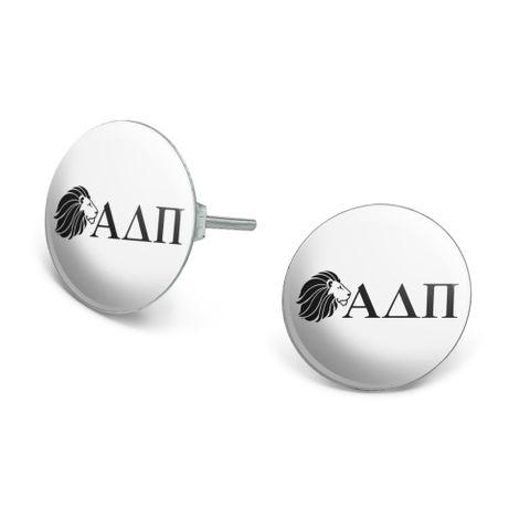 Alpha Delta Pi Sorority Lion Greek Letters Black Officially Licensed Novelty Silver Plated Stud Earrings