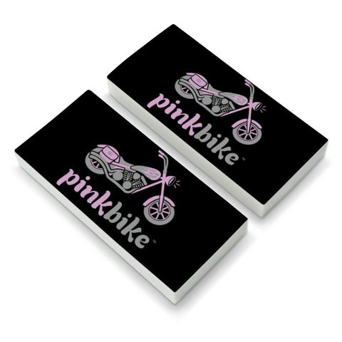 Pink Bike Motorcycle Chopper Logo Eraser Set of 2