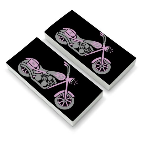Pink Bike Motorcycle Chopper Eraser Set of 2