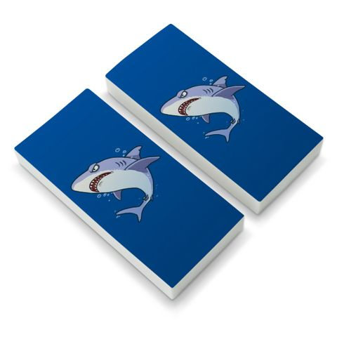 Great White Shark Cartoon in Ocean Eraser Set of 2
