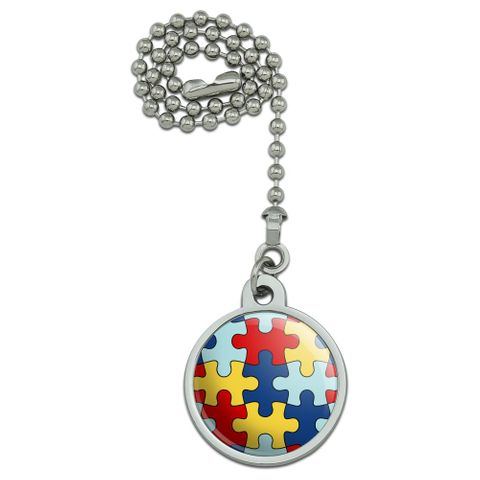 Autism Awareness Diversity Puzzle Pieces Ceiling Fan and Light Pull Chain