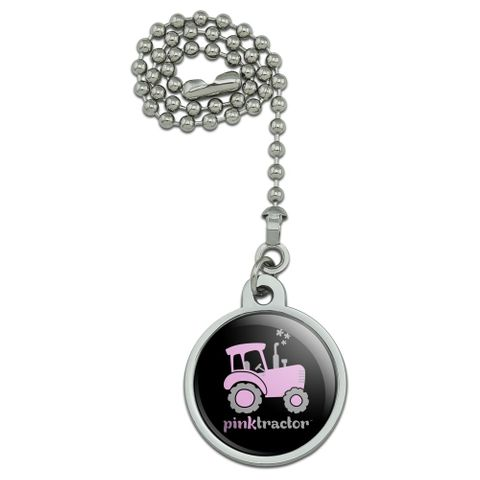 Pink Farm Tractor Logo Ceiling Fan and Light Pull Chain