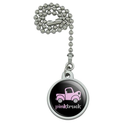 Pink Classic Pickup Truck Logo Ceiling Fan and Light Pull Chain