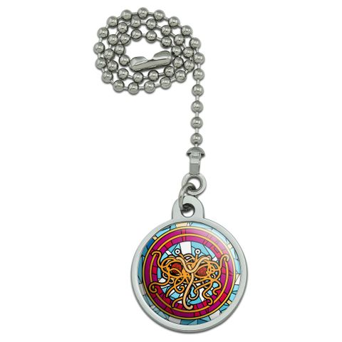 Flying Spaghetti Monster Stained Glass Ceiling Fan and Light Pull Chain