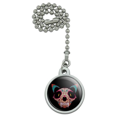 Cat Skull Mexican Day of the Dead Ceiling Fan and Light Pull Chain