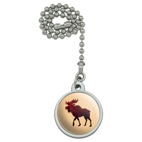 Moose Red Forest Ceiling Fan and Light Pull Chain