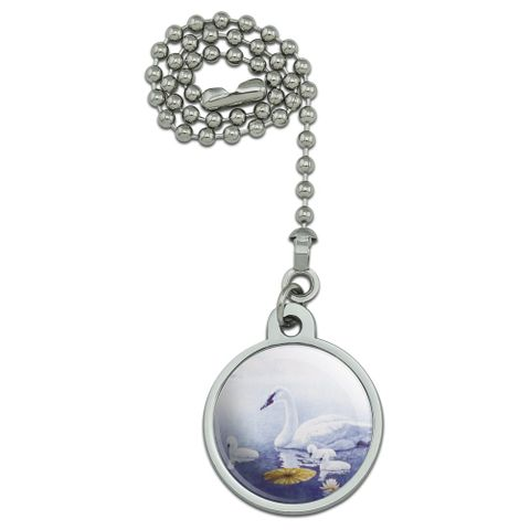 Swan Family on the Lake Ceiling Fan and Light Pull Chain
