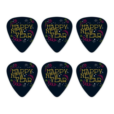 Happy New Year Novelty Guitar Picks Medium Gauge - Set of 6