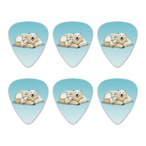 Polar Bear Mom with Cubs Family Novelty Guitar Picks Medium Gauge - Set of 6