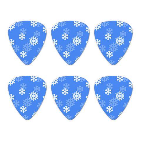 Snowflakes Winter Novelty Guitar Picks Medium Gauge - Set of 6