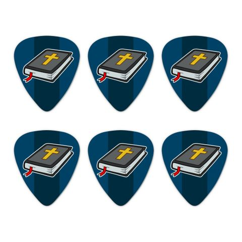 Bible with Cross Christian Religious Novelty Guitar Picks Medium Gauge - Set of 6