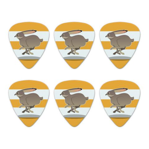 Jackrabbit Running Racing Novelty Guitar Picks Medium Gauge - Set of 6
