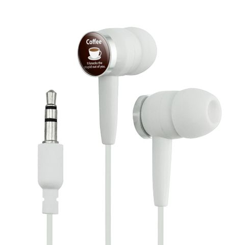 Coffee Knocks the Stupid Out of You Funny Novelty In-Ear Earbud Headphones