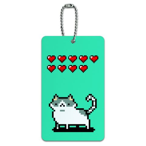 Nine Lives Cat Pixel Retro Game Luggage Card Suitcase Carry-On ID Tag
