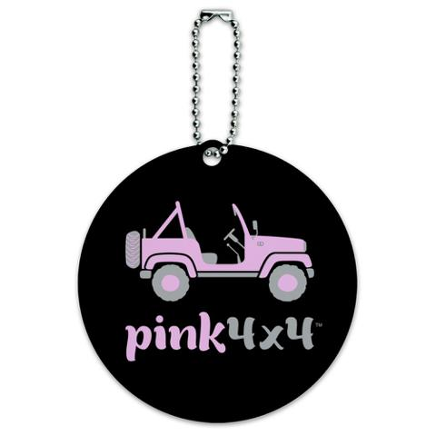 Pink 4x4 Truck Off-Road Logo  Round Luggage ID Tag Card Suitcase Carry-On