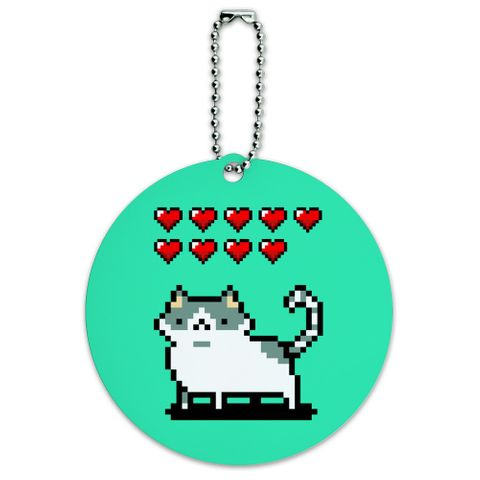 Nine Lives Cat Pixel Retro Game Round Luggage ID Tag Card Suitcase Carry-On