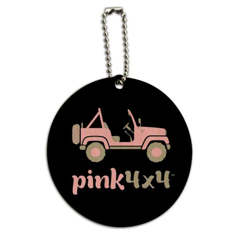 Pink 4x4 Truck Off-Road Logo  Round Wood Luggage Card Suitcase Carry-On ID Tag