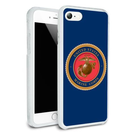 Marine Corps USMC Emblem Officially Licensed Protective Slim Fit Hybrid Rubber Bumper Case Fits Apple iPhone 8, 8 Plus, X