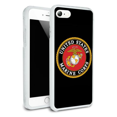 Marines USMC Emblem Black Yellow Red Officially Licensed Protective Slim Fit Hybrid Rubber Bumper Case Fits Apple iPhone 8, 8 Plus, X
