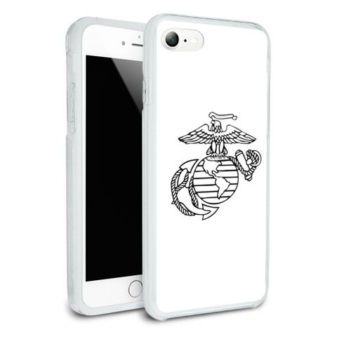 Marine Corps USMC Black White Eagle Globe Anchor Logo Officially Licensed Protective Slim Fit Hybrid Rubber Bumper Case Fits Apple iPhone 8, 8 Plus, X