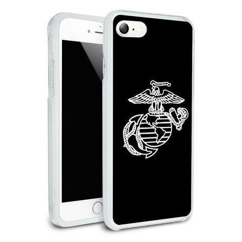 Marines USMC White on Black Eagle Globe Anchor Logo Officially Licensed Protective Slim Fit Hybrid Rubber Bumper Case Fits Apple iPhone 8, 8 Plus, X