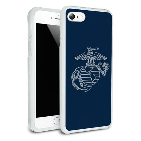 Marine Corps USMC Gray on Blue Eagle Globe Anchor Logo Officially Licensed Protective Slim Fit Hybrid Rubber Bumper Case Fits Apple iPhone 8, 8 Plus, X