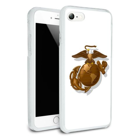Marines USMC Golden Logo on White Eagle Globe Anchor Officially Licensed Protective Slim Fit Hybrid Rubber Bumper Case Fits Apple iPhone 8, 8 Plus, X